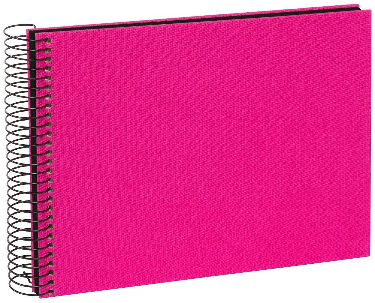 goldbuch 20964 album spiralny Bella Vista, album fotograficzny 24 x 17 cm, album fotograficzny z 40 czarnymi stronami, album na wspomnienia z lnu, fotoksiążka do wklejania, różowy