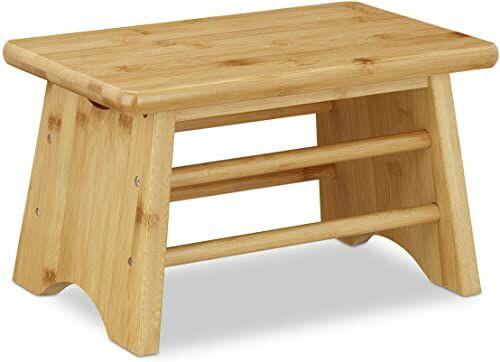 Relaxdays Podnóżek, bambus, do 100 kg, stabilny podnóżek do chodzenia, stołek dla dzieci, do łazienki, taboret, wys. x szer. x gł.: 20 x 33 x 21,5 cm, naturalny, 1 sztuka