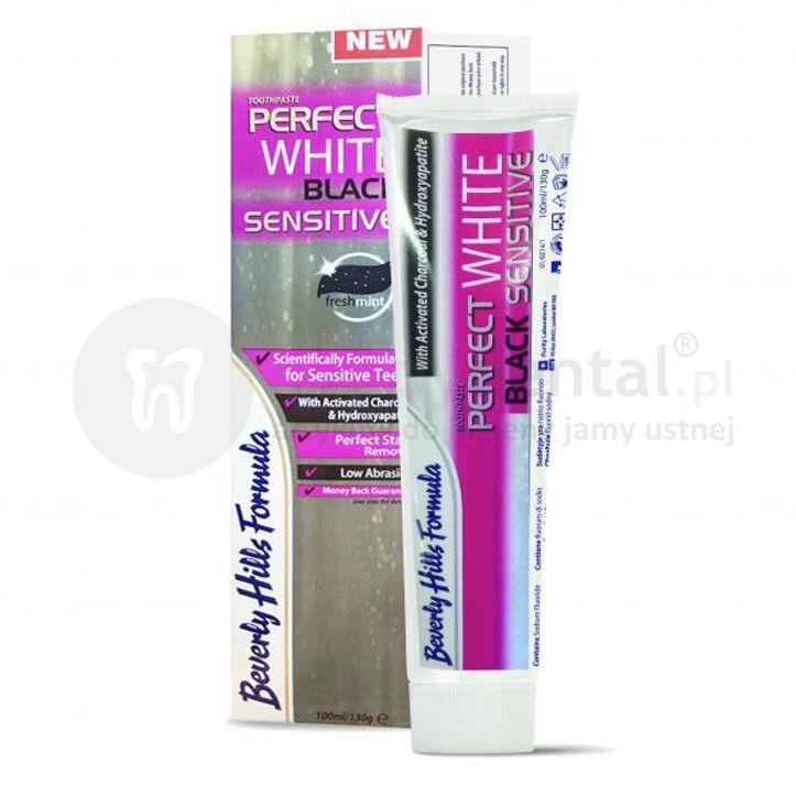BEVERLY HILLS Perfect White BLACK SENSITIVE 75ml + 25ml GRATIS - innowacyjna, czarna pasta wybielająca z hydroksyapatytem dla wrażliwych zębów