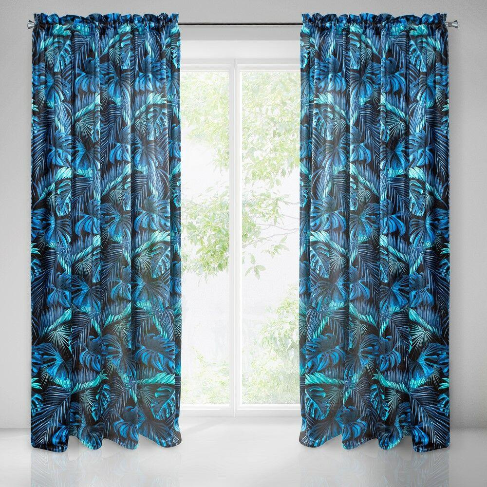 Zasłona gotowa na taśmie 135x270 Liście palmy monstery egzotyczna niebieska turkusowa czarna miętowa Liz Eurofirany