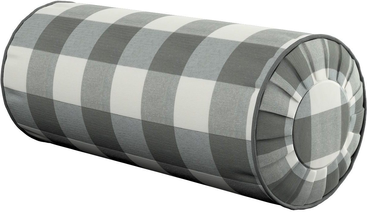 Poduszka wałek z zakładkami, szaro biała krata (5,5x5,5cm), Ø20  50 cm, Quadro