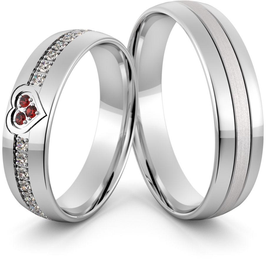 Obrączki srebrne z sercem rubinami i cyrkoniami - wzór Ag-415