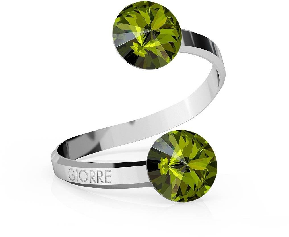 Srebrny pierścionek Swarovski rivoli 8mm, srebro 925 : Kryształy - kolor - Olivine, Srebro - kolor pokrycia - Pokrycie platyną