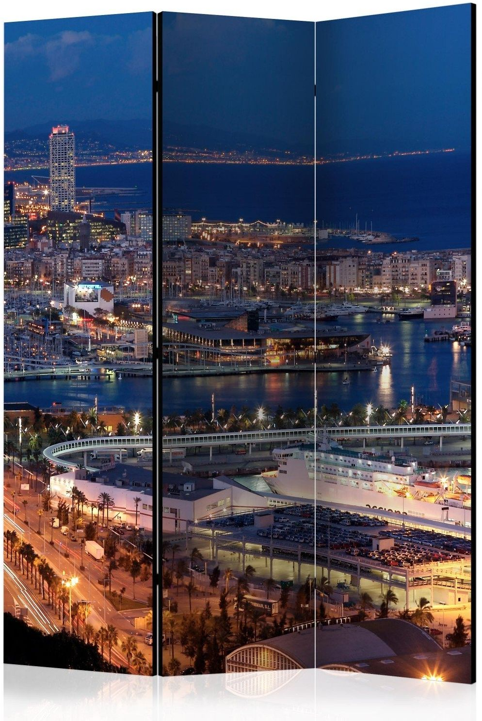 Parawan 3-częściowy - rozświetlona barcelona [room dividers]