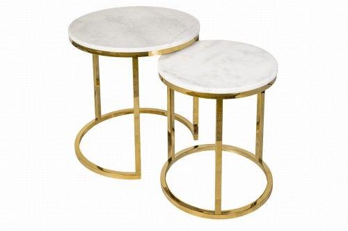 Zestaw marmurowych stolików kawowych Nest Gold