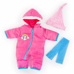 Bayer Design 83881AA ubranie dla lalek 33-38 cm, kombinezon śnieżny, szal i czapka, zestaw zimowy, strój z jednorożcem, różowy, turkusowy