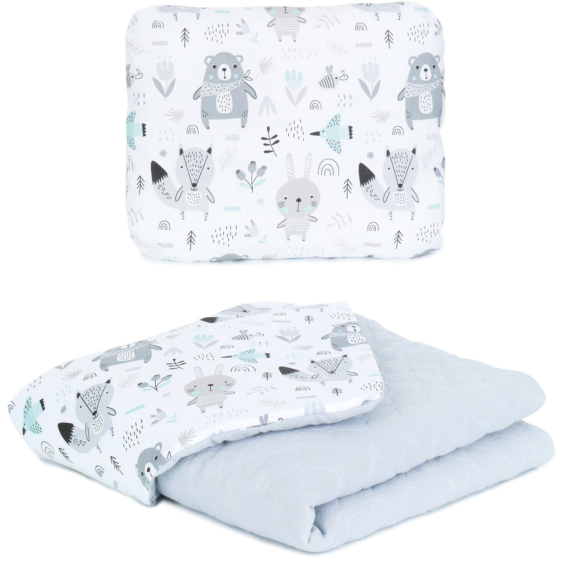 MAMO-TATO KOMPLET Kocyk dla dzieci i niemowląt 75x100 - MUŚLIN PIK + poduszka - Boho / popiel - ocieplony