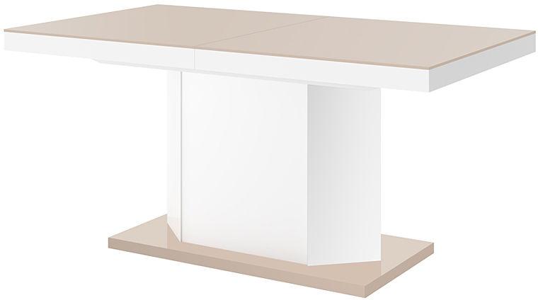 Rozkładany stół biało - beżowy połysk - Walder 3X