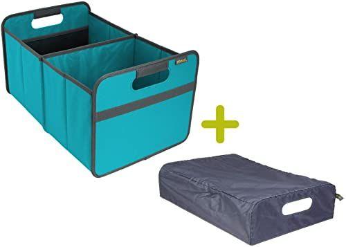 meori Azur składane pudełko duże niebieskie + pokrywa 32 x 50 x 27,5 cm stabilne, zmywalne poliestrowe przechowywanie mebli do przechowywania porządku szuflada, pudełko regałowe, zestaw
