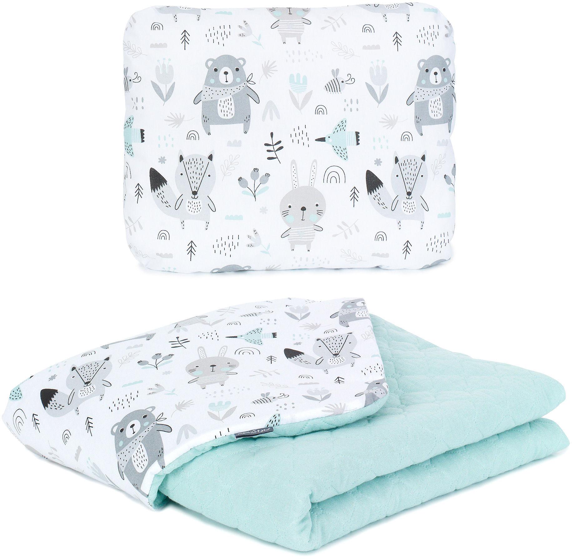 MAMO-TATO KOMPLET Kocyk dla dzieci i niemowląt 75x100 - MUŚLIN PIK + poduszka - Boho / jasna szałwia - ocieplony