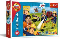 Trefl Gotowi by Pomagać Puzzle 30 Elementów Fireman Sam o Wysokiej Jakości Nadruku dla Dzieci od 3 lat