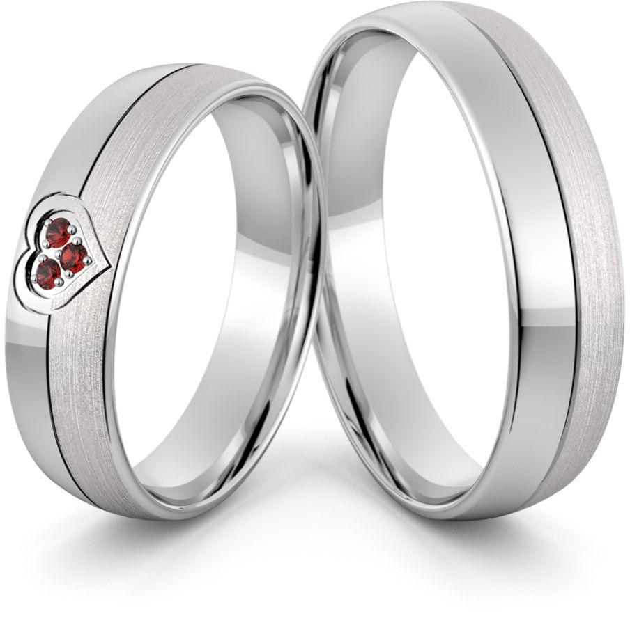 Obrączki srebrne z sercem i rubinami - wzór Ag-417