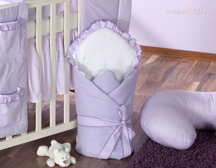 MAMO-TATO Rożek niemowlęcy usztywniony z falbanką lawendowy