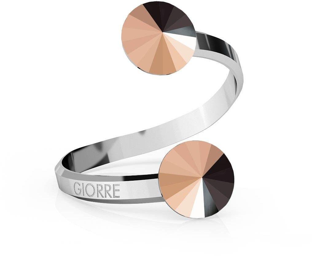 Srebrny pierścionek Swarovski rivoli 8mm, srebro 925 : Kryształy - kolor - Rose Gold, Srebro - kolor pokrycia - Pokrycie platyną