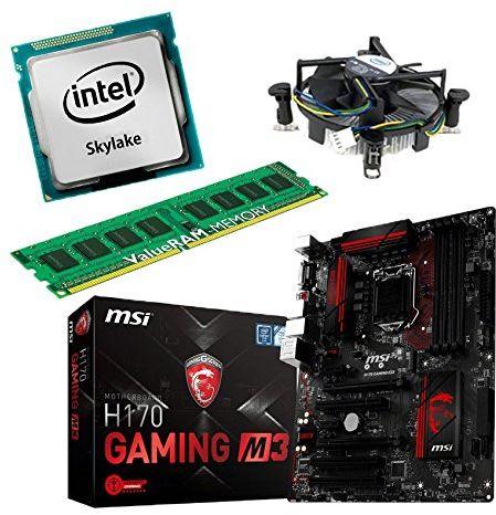 zestaw do aktualizacji MSI H170 GAMING M3 płyta główna do komputera stacjonarnego/PC z procesorem i5 6700K Skylake, 8 GB DDR4 RAM i grafiką Intel HD530 na chipie graficznym