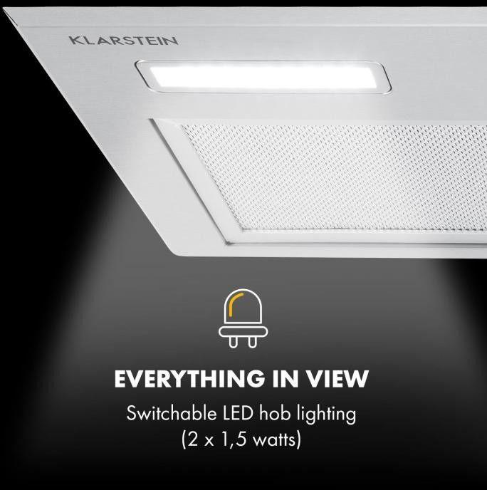 Klarstein Simplica, okap kuchenny do zabudowy, 52 cm, wydajność wyciągu powietrza: 400 m3/h, LED, stal szlachetna
