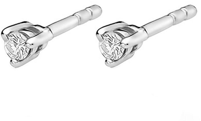 Kolczyki z białego złota 585 delikatne z diamentami