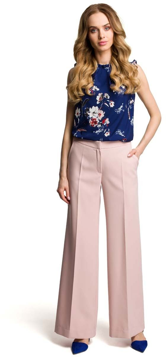Eleganckie szerokie pudrowe spodnie w kant