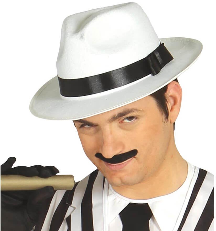 Kapelusz gangstera biały z czarną lamówką - 1 szt.