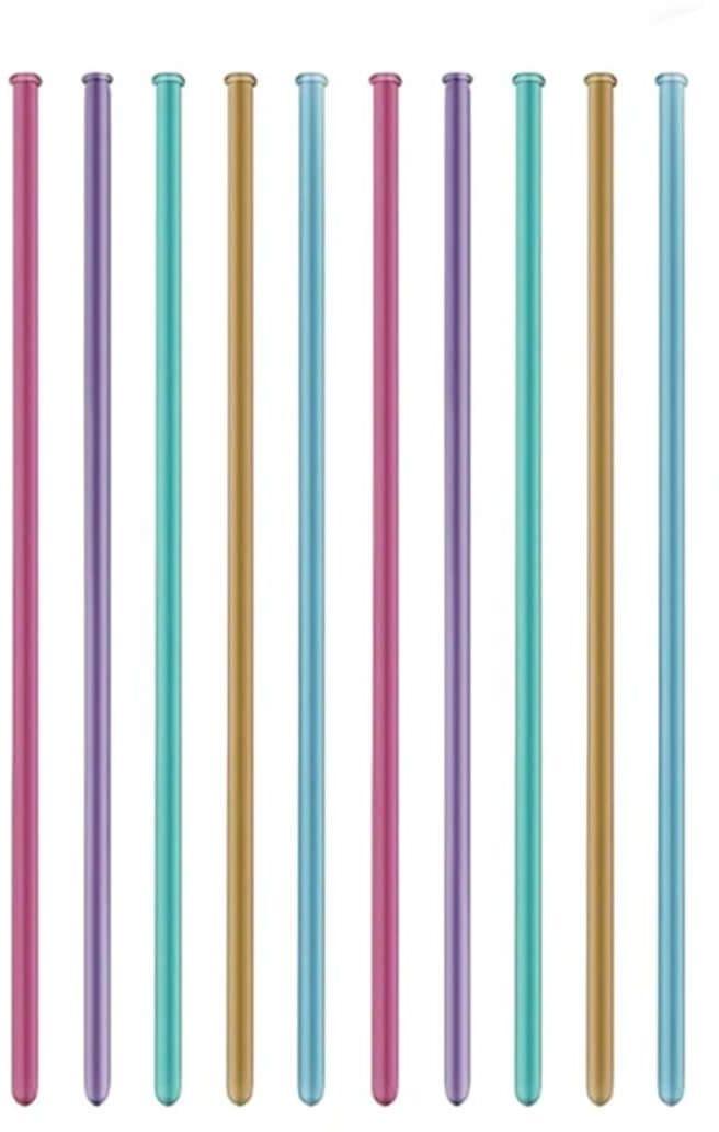 Modeliny, rurki - mix kolorów - chromowane - 10 szt. + pompka