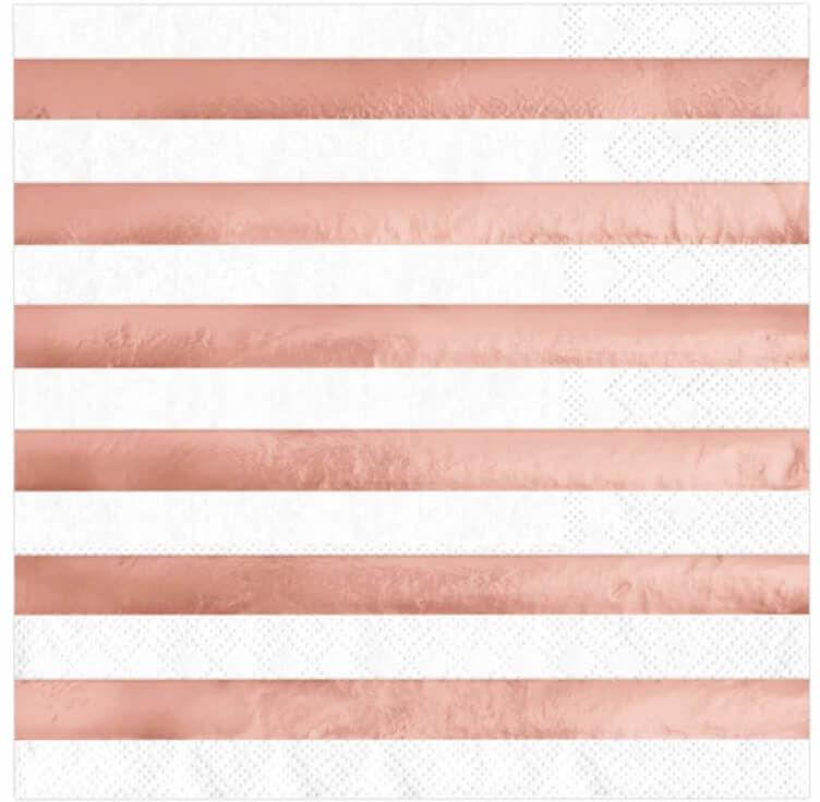 Serwetki w różowo-złote paski - 33 cm - 10 szt.