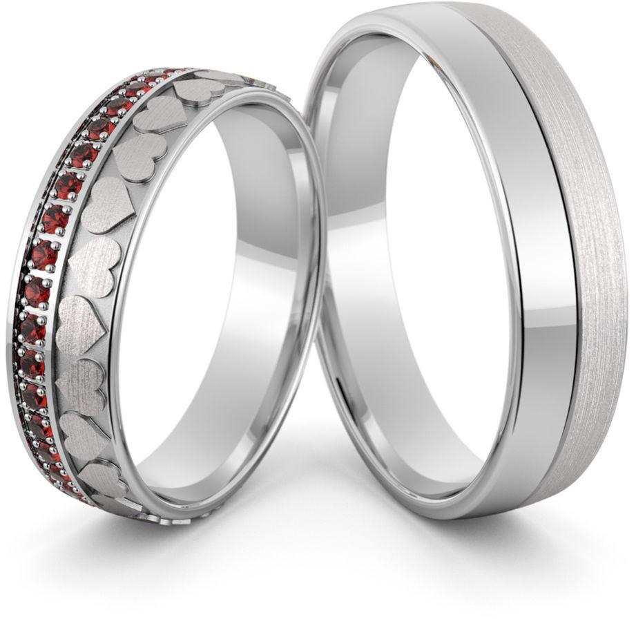 Obrączki srebrne z sercami i rubinami - wzór Ag-420