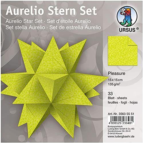 Ursus 35635551 - kartki Aurelio gwiazda Pleasure, jasnozielony, 33 arkusze, z papieru 135 g/m , ok. 15 x 15 cm, obustronnie zadrukowane, idealne jako dekoracja bożonarodzeniowa