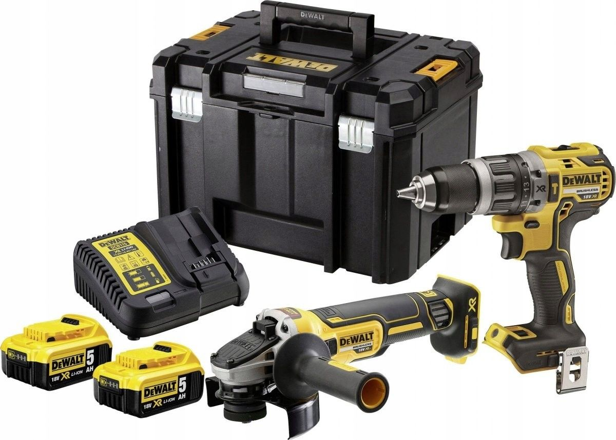 akumulatorowy zestaw Combo DCD796 + DCG405 18V Li-Ion XR 2x5,0Ah, kufer TSTAK VI, DeWalt [DCK2080P2T-QW]