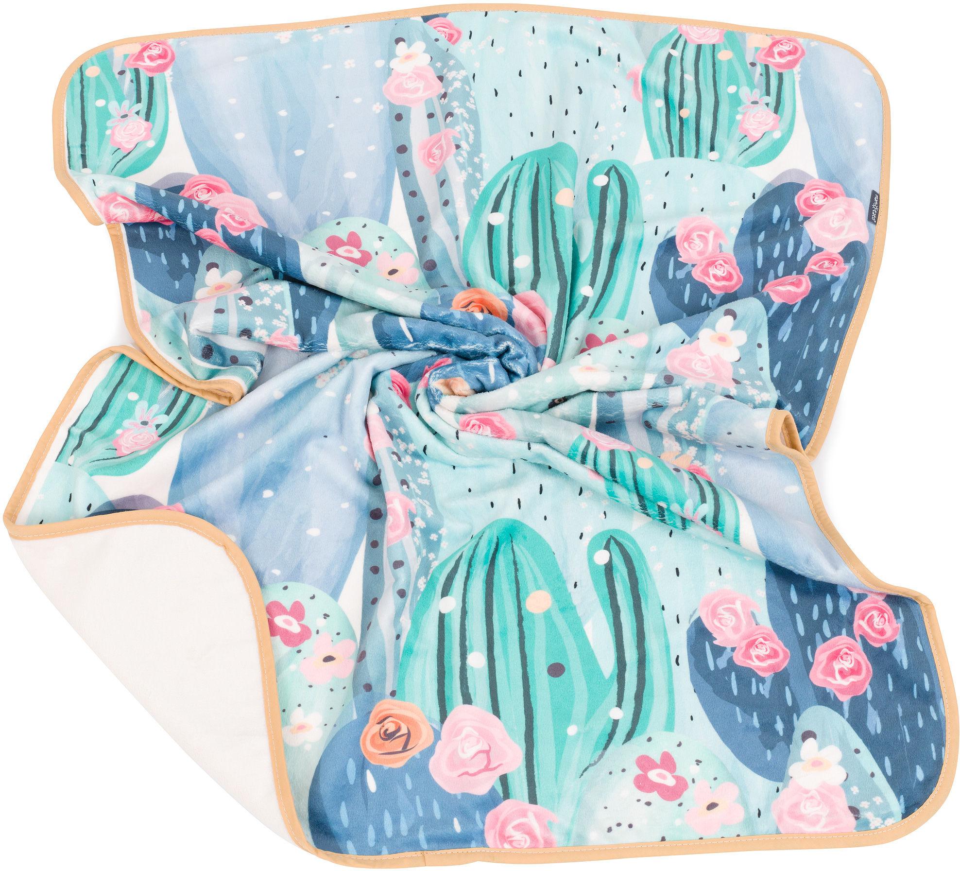 MAMO-TATO Kocyk Minky dla niemowląt i dzieci dwuwarstwowy 75x100 - Kaktusowo