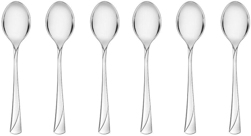 Gerlach Matt Valor łyżeczka do herbaty ze stali nierdzewnej, srebrna, 20 x 15 x 2,5 cm, 6 sztuk