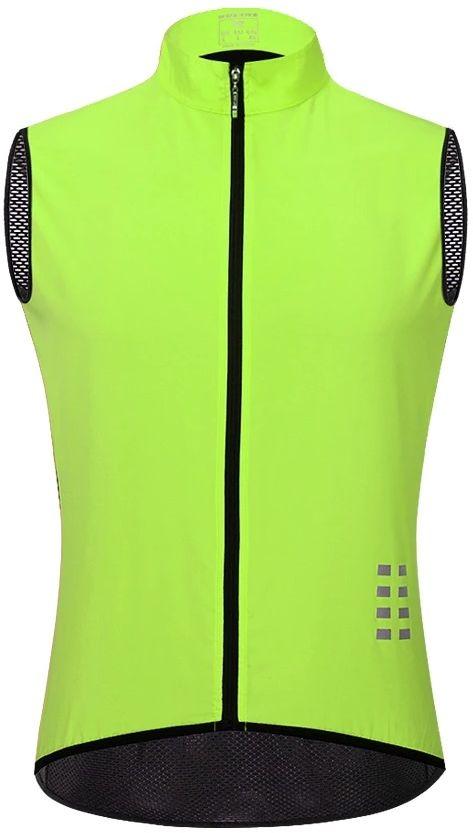 WOSAWE BL221-G męska wiatroszczelna kamizelka rowerowa z meshem na plecach, fluor żółty Rozmiar: L,BL221-G