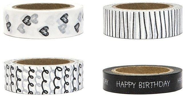 Tasiemki dekoracyjne Washi Tape Black&White 4szt 10m DTP4
