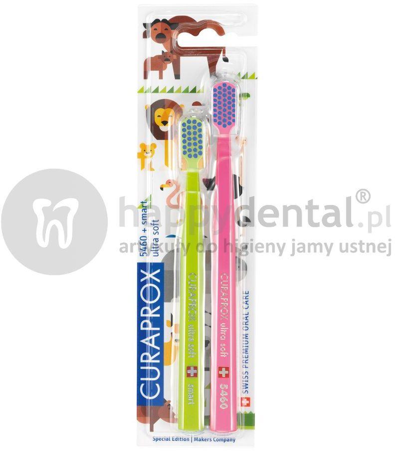 CURAPROX CS 5460 + Smart 7600 Animal Edition DWUPAK - promocyjny zestaw dwóch wyjątkowych szczoteczek do zębów dla dzieci i dorosłych