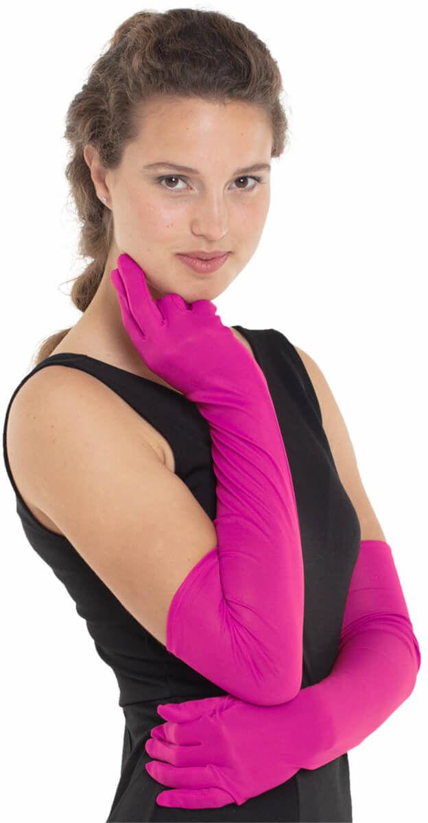 Rękawiczki karnawałowe różowe - 50 cm.