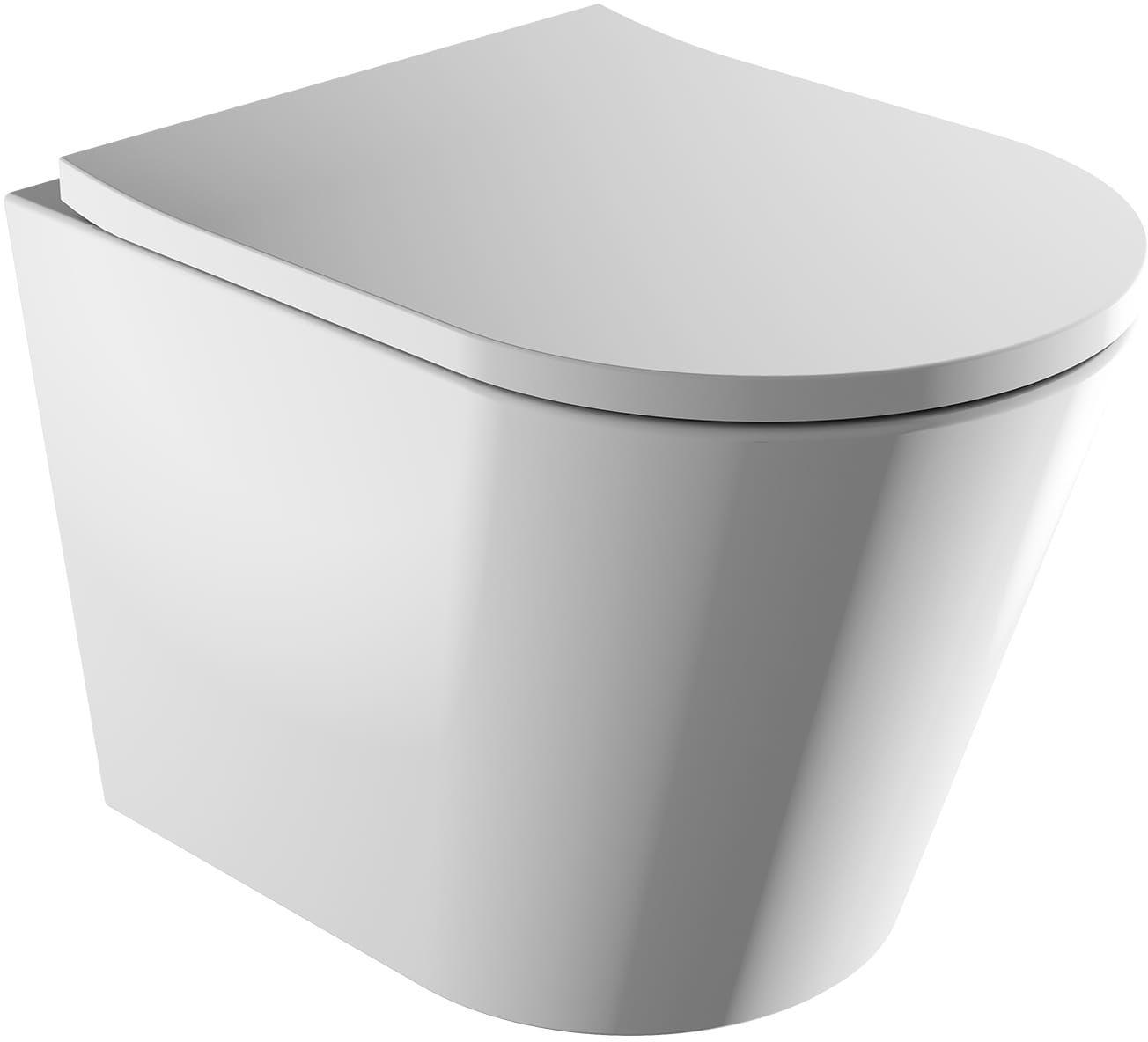 OMNIRES Tampa Bezkołnierzowa miska toaletowa wisząca z deską wolnoopadającą, biały połysk TAMPAMWBP