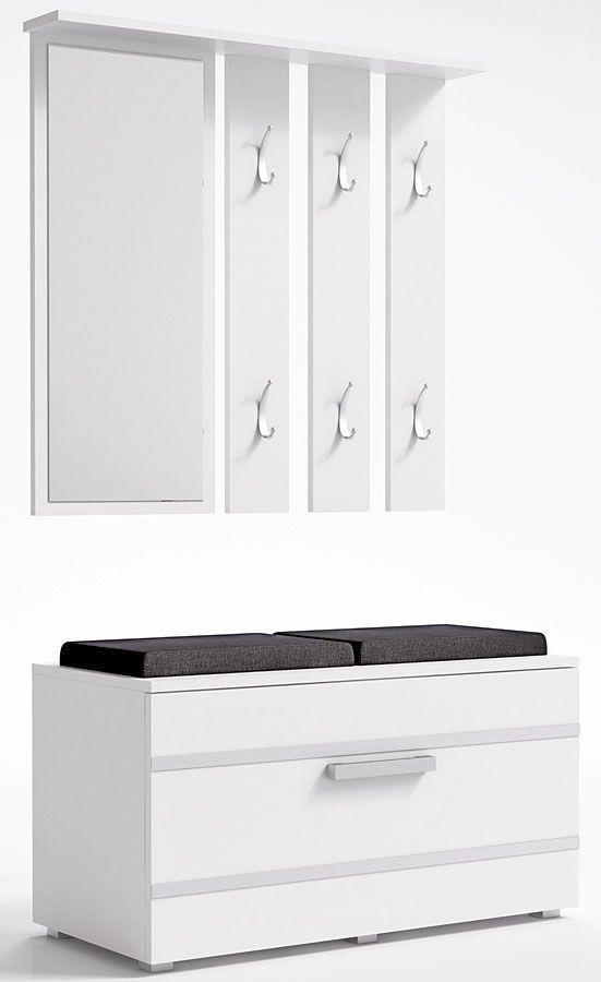 Garderoba z szafką na buty Malea - biała