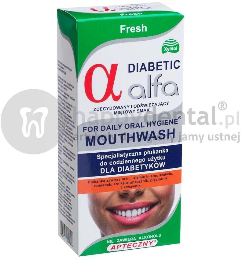 ALFA DIABETIC Fresh 200ml - specjalistyczna płukanka dla DIABETYKÓW do stosowania bezpośrednio przed i po zabiegach implantacji lub ekstrakcji zęba