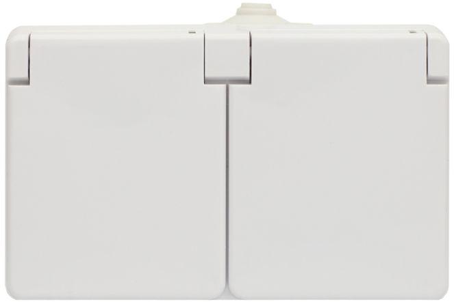 TROL Gniazdo hermetyczne podwójne z/u IP44 klapka biała 100436