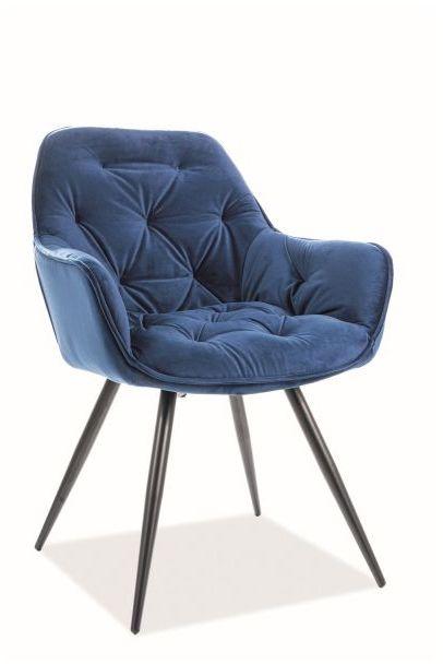 Krzesło CHERRY VELVET granatowe tapicerowane aksamitem  KUP TERAZ - OTRZYMAJ RABAT