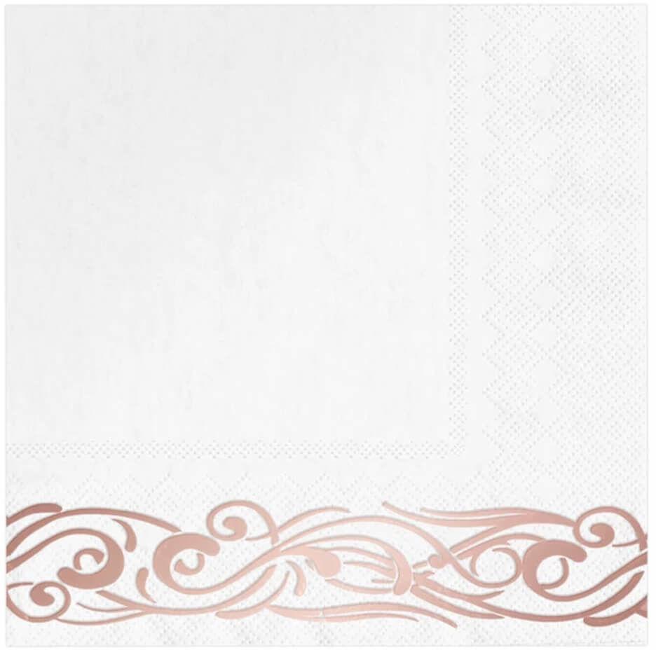 Serwetki białe z różowo złotym wzorem - 33 cm - 10 szt.
