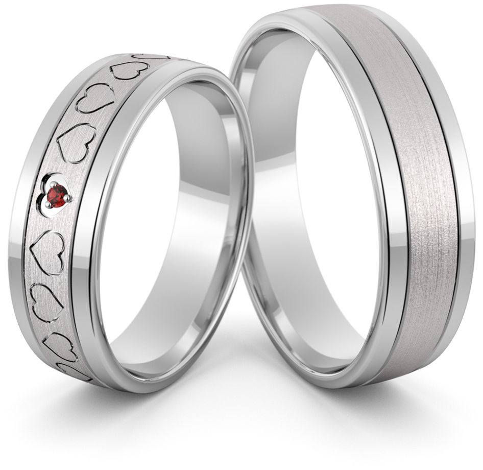 Obrączki srebrne z sercami i rubinem - wzór Ag-422