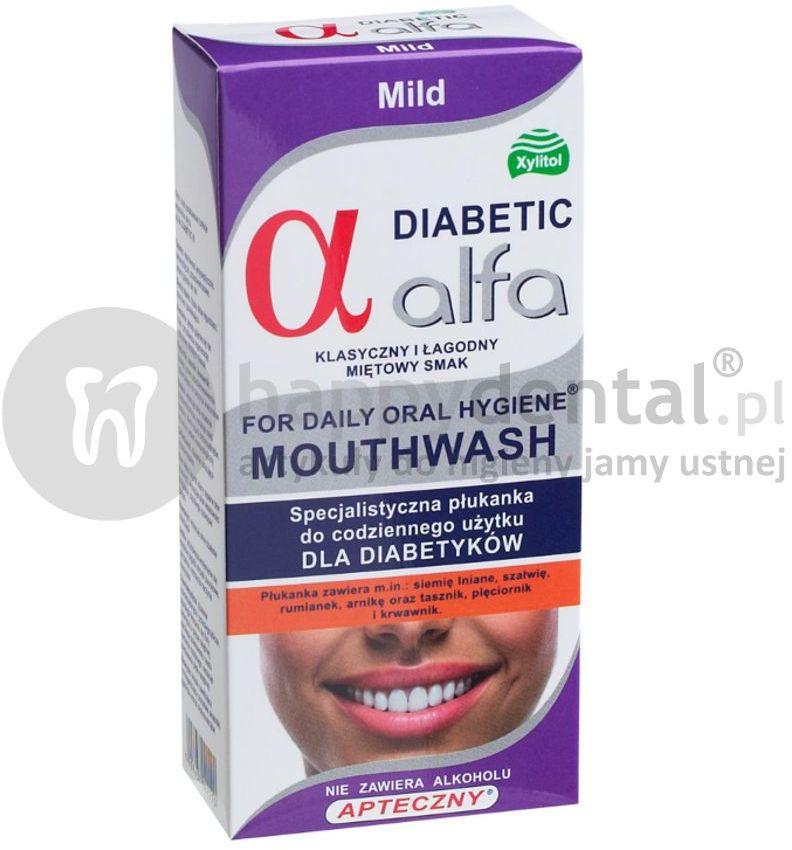 ALFA DIABETIC Mild 200ml - specjalistyczna płukanka dla DIABETYKÓW do stosowania bezpośrednio przed i po zabiegach implantacji lub ekstrakcji zęba