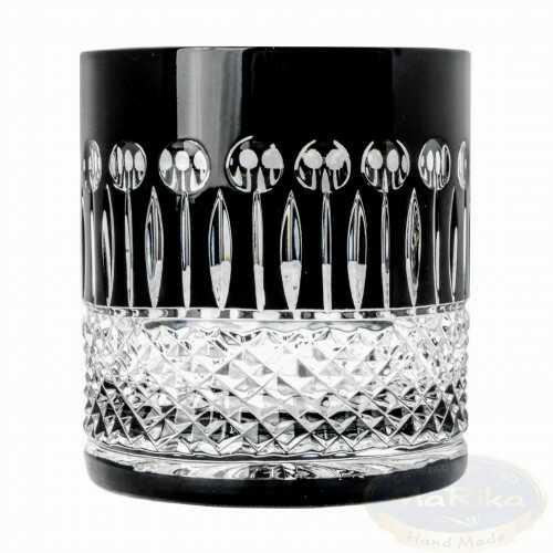 Czarne kryształowe szklanki do whisky 350ml Francuskie 6 sztuk