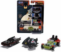 Jada Toys 253211001 Batman 3-częściowy Nano samochody kolekcjonerskie z Die-cast, Batcycle, Joker Batmobile, zabawkowe samochody, zestaw, 4 cm, od 8 lat