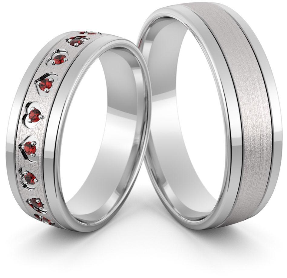 Obrączki srebrne z sercami i rubinami - wzór Ag-423