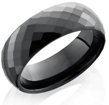 Obrączka Ceramika Czarna z Fasetkami