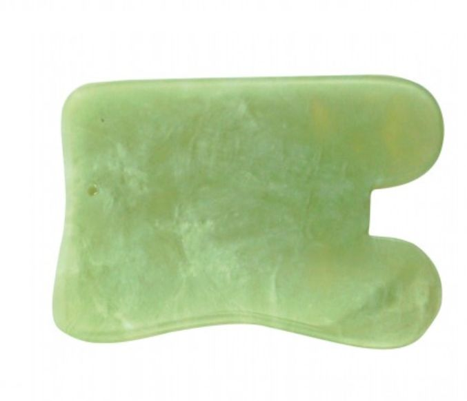 Profesjonalny skrobak do masażu Gua Sha prostokąt z wycięciem - jadeitowy przyrząd do scrapingu (ADJ25)