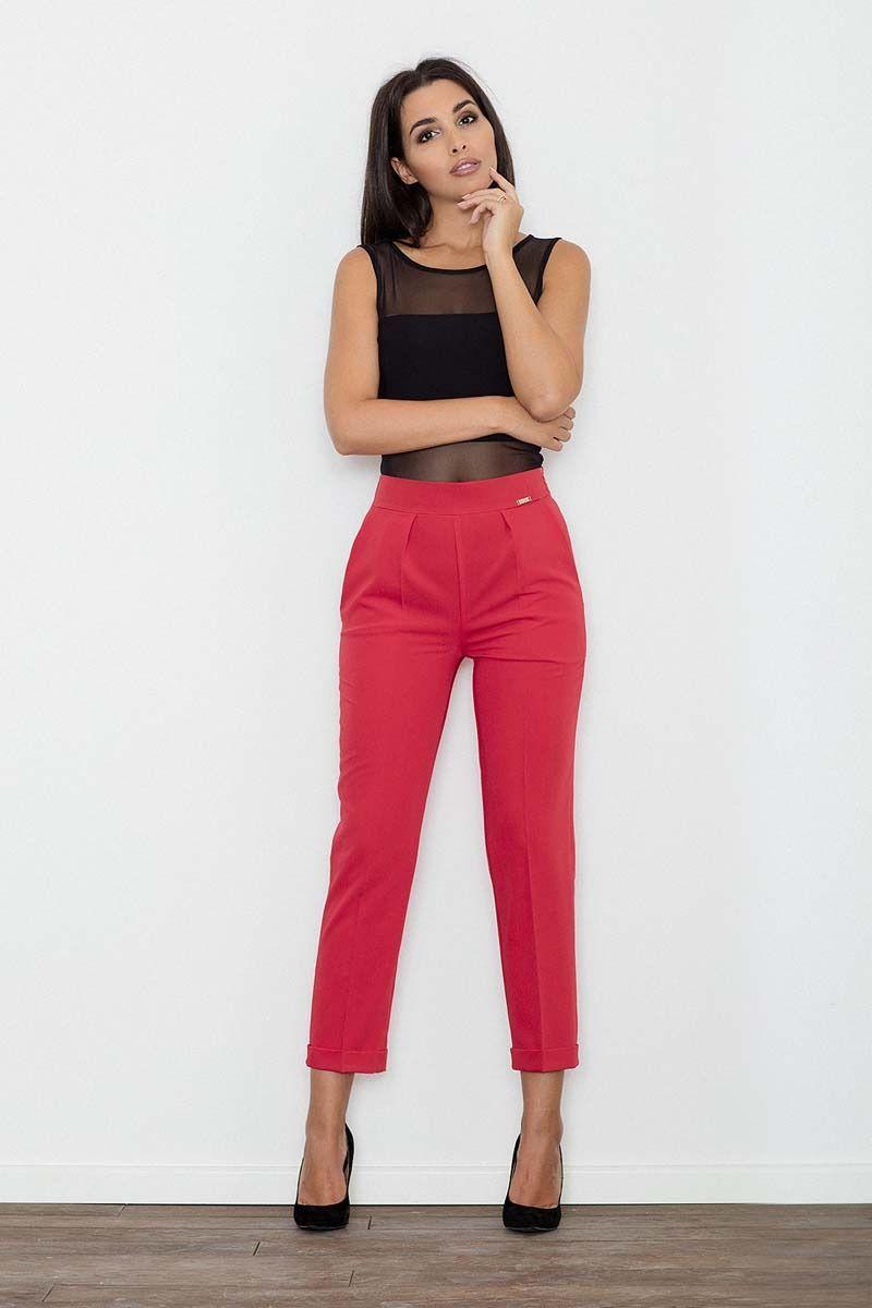 Czerwone spodnie 7/8 w kant z mankietem