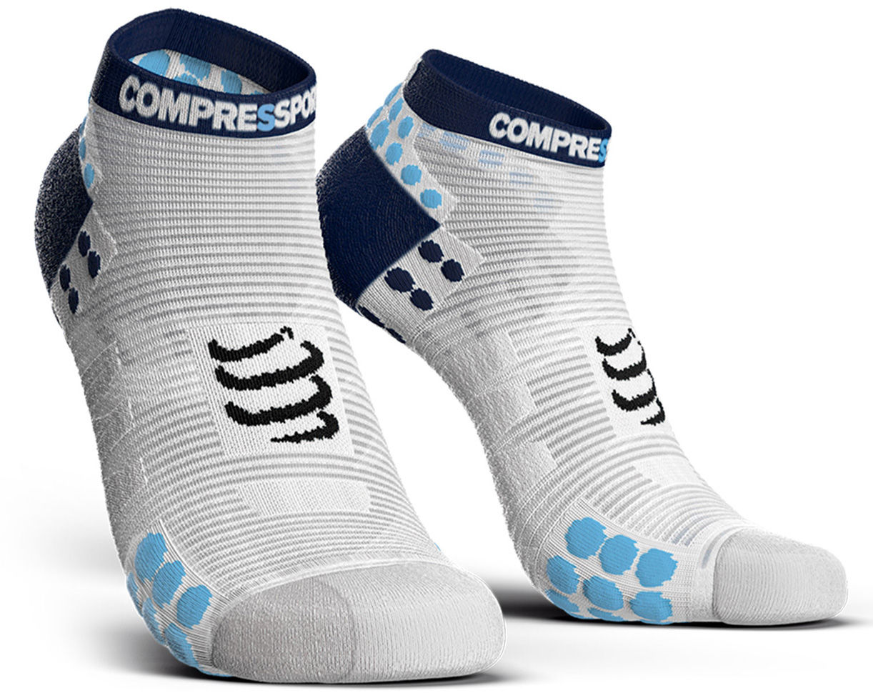Stopki do biegania Compressport Racing Socks V3.0 Run Low White/Blue