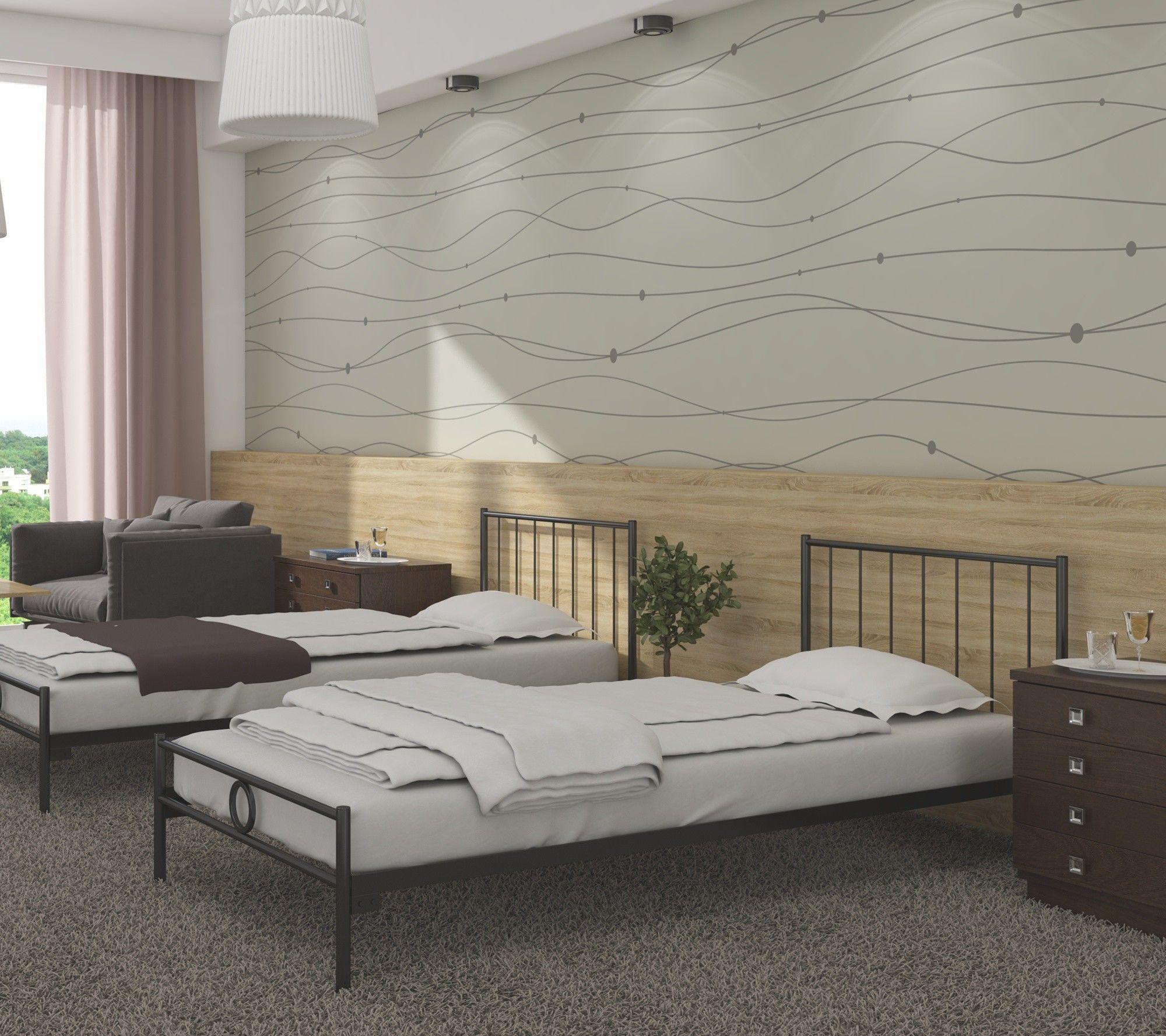 łóżko metalowe 90x180 wzór 3J ze stelażem pod materac